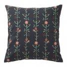 IKEA Renrepe Cushion COVER Pillow Sham BLACK Tolle Floral Scandinavian Folk Art Botanical