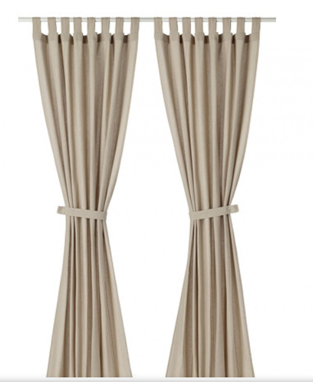"IKEA Lenda CURTAINS w TIE-BACKS Light Beige 118"" Drapes TAB Top Chambray Linen Look"