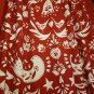 IKEA Vinter 2016 Fabric Material RED on White Scandinavian Birds Flowers Tolle Floral 1 yd Xmas