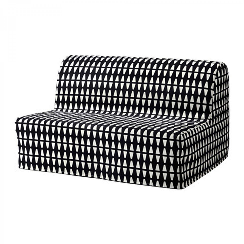 IKEA Lycksele Sofa Bed SLIPCOVER Cover EBBARP Black White MOD Retro Geometric Diamond