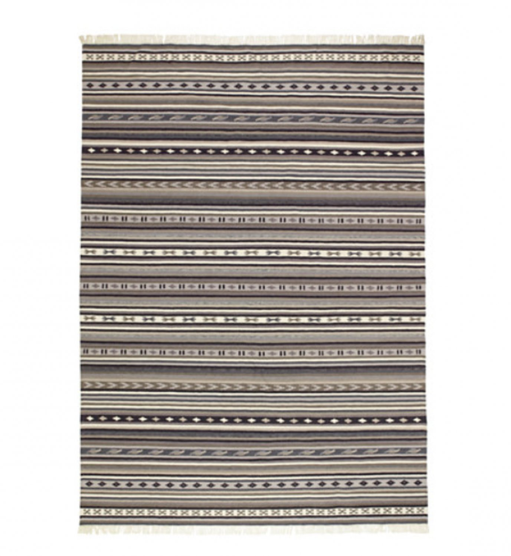 """IKEA Kattrup Area RUG Mat WOOL Gray Hand-Woven Flatwoven INDIA Ethnic 7'10"""" x 5'7"""" Grey"""