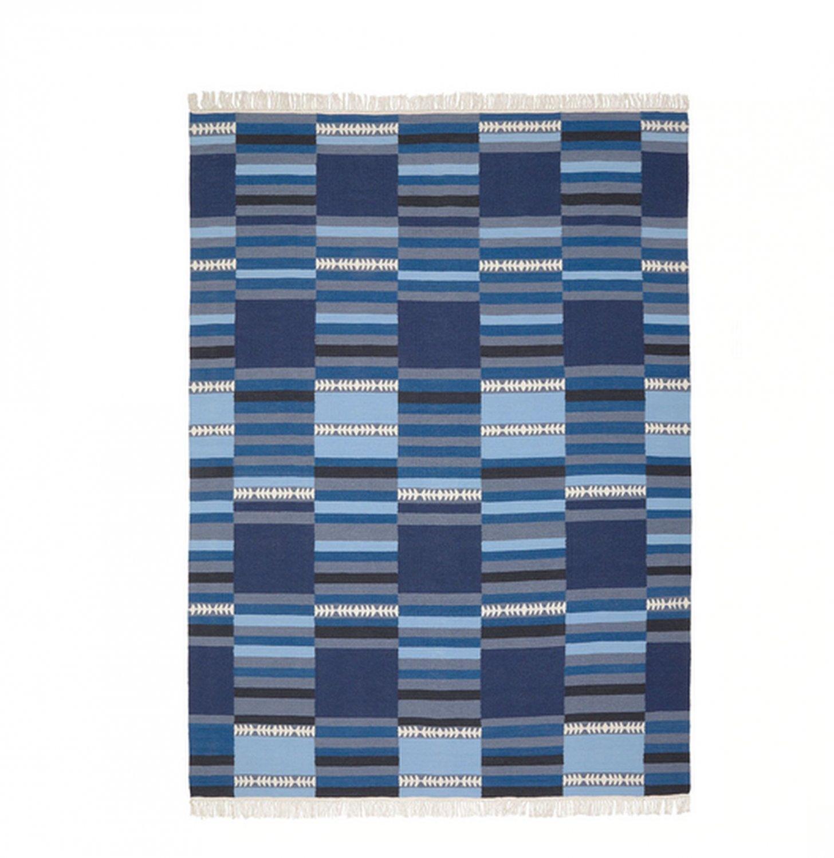 "IKEA Tranget Area RUG Mat WOOL Blue Hand-Woven Flatwoven INDIA Ethnic 7'10"" x 5'7"""