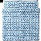 IKEA Stjarnflocka KING Duvet COVER and Pillowcases Set BLUE White Tie Dye Star Flower STJÄRNFLOCKA