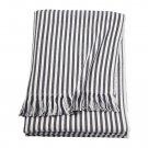 IKEA Tuvalie Throw BLANKET Afghan DARK GRAY White Ticking Stripe Homespun look Fringed grey