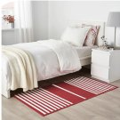 "IKEA Vinter 2019 RUG Area Throw Mat RED White Stripe Flatwoven 2'7"" x 4'11"" Cotton"