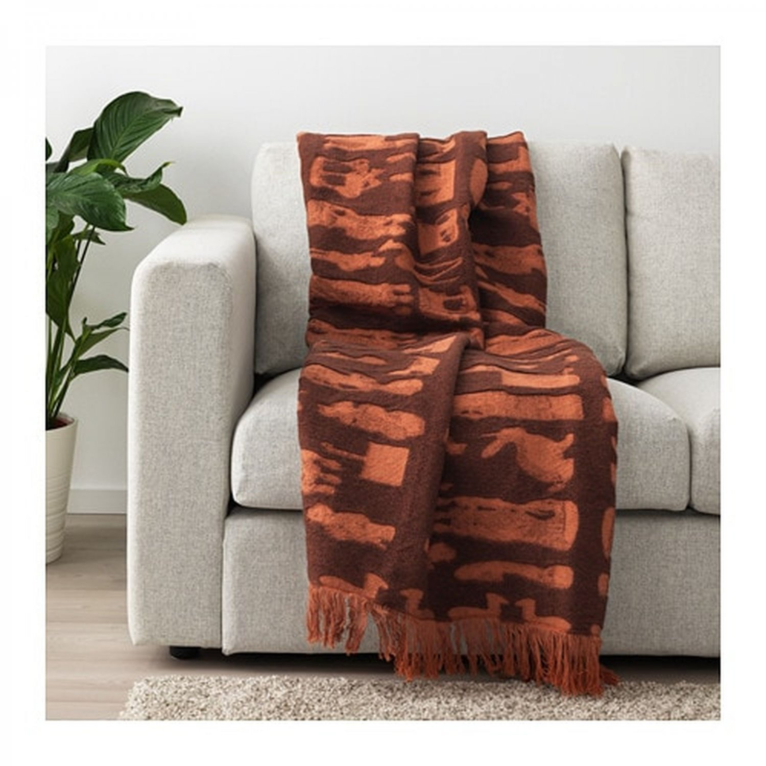IKEA Foremal Throw BLANKET Afghan Bedspread Brown Orange F�REM�L Sundberg Limited Edition Wool Bld