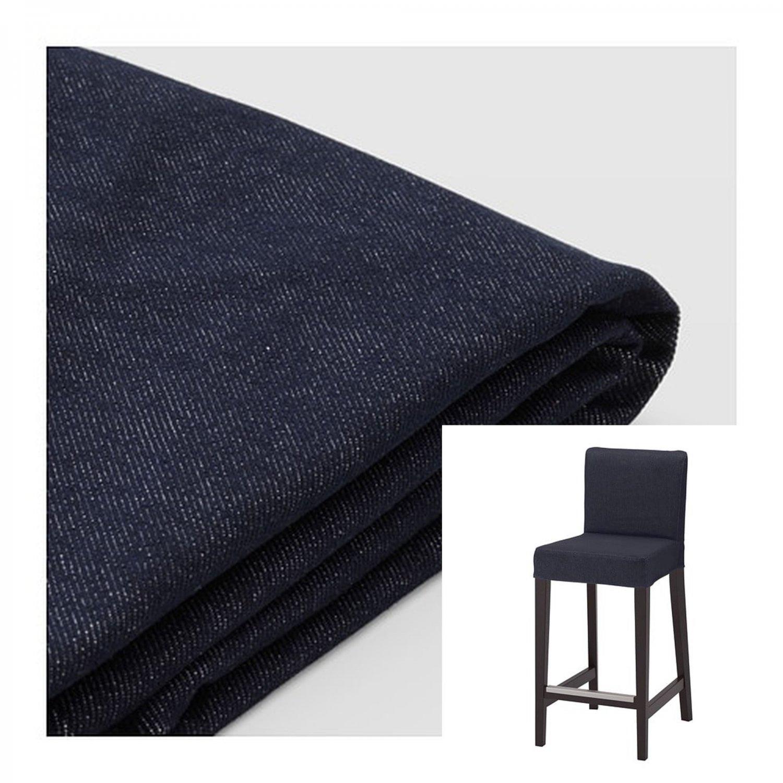 """IKEA Henriksdal VANSTA DARK BLUE Bar Stool SLIPCOVER Barstool COVER 19"""" 48cm Denim"""