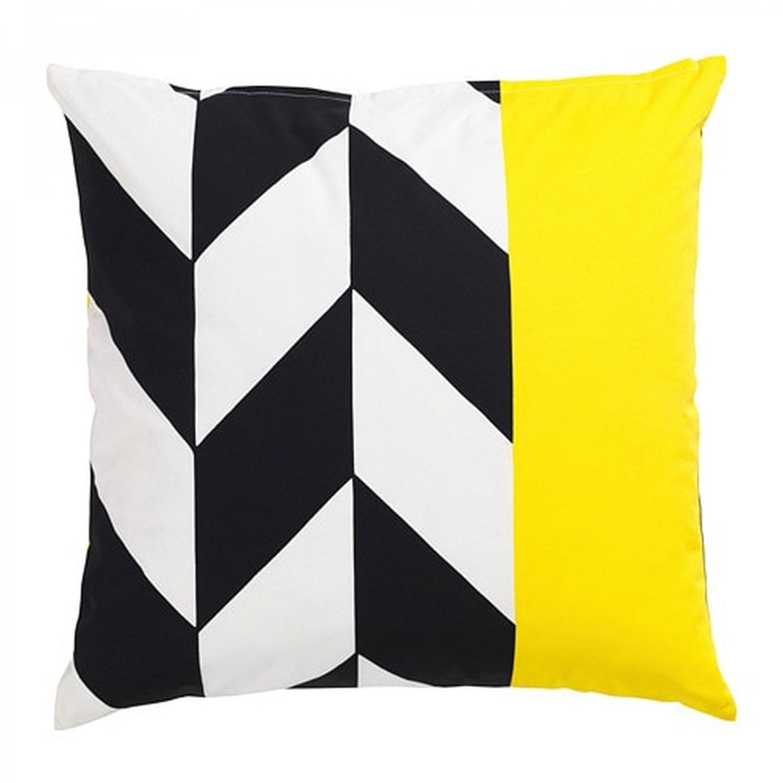 "IKEA Mosaikblad Cushion COVER Pillow Sham  20"" x 20"" Retro Black Yellow Chevron Limited Edition"