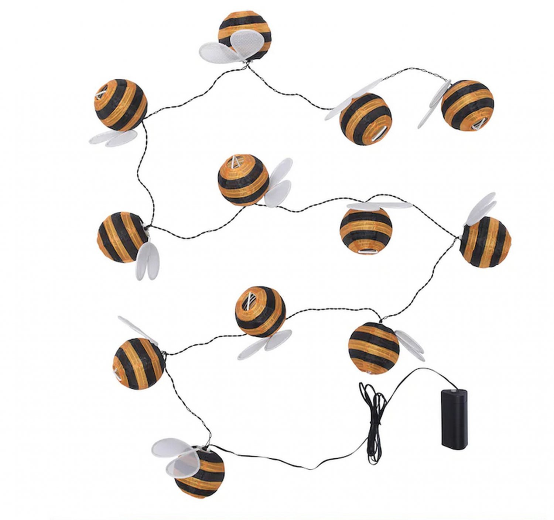 IKEA Solvinden 12 LIGHT CHAIN LED INDOOR OUTDOOR Bumble Bee Yellow Striped Battery Op Fairy Lights
