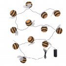 IKEA Solvinden 12 LIGHT CHAIN LED INDOOR OUTDOOR Bumble Bee Yellow Striped Battery Op Fairy Lights