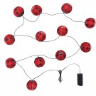IKEA Solvinden 12 LIGHT CHAIN LED INDOOR OUTDOOR Ladybug Ladybird Red Battery Op Fairy Lights Bug