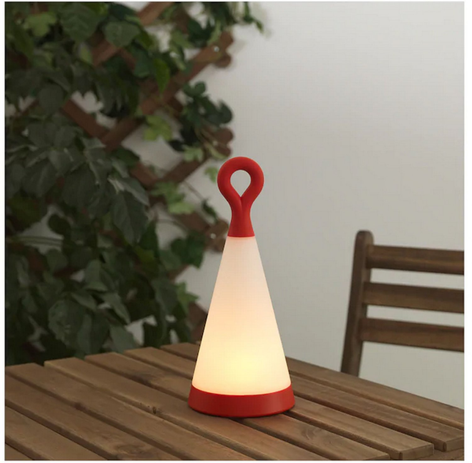 """IKEA Solvinden LED Patio Table Lamp SOLAR POWER Light Red White Triangle Outdoor 12"""""""