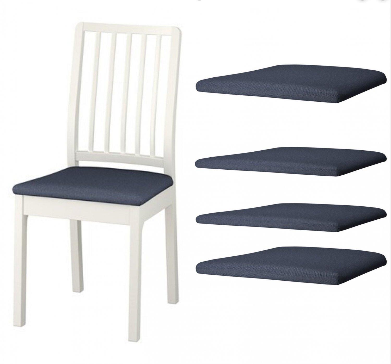 IKEA Ekedalen Dining Chair SLIPCOVER Cover SET of 4 ORRSTA BLACK-BLUE black blue