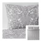 IKEA Jattevallmo KING Duvet COVER and Pillowcases Set GRAY White Paisley JÄTTEVALLMO Grey