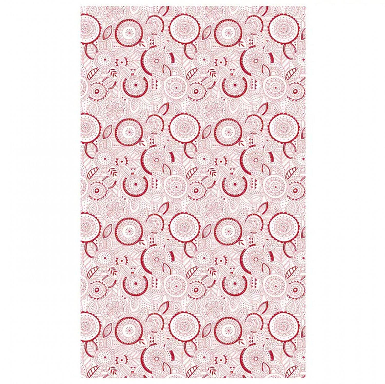 """IKEA Vinterfest TABLECLOTH Red White Cotton Snowflake Leaf Xmas Design 57"""" x 94"""""""