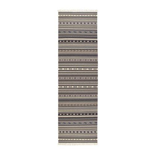 "IKEA Kattrup Area RUNNER RUG Mat WOOL Gray Hand-Woven Flatwoven INDIA Ethnic 8'2"" x 2'6"" Grey"