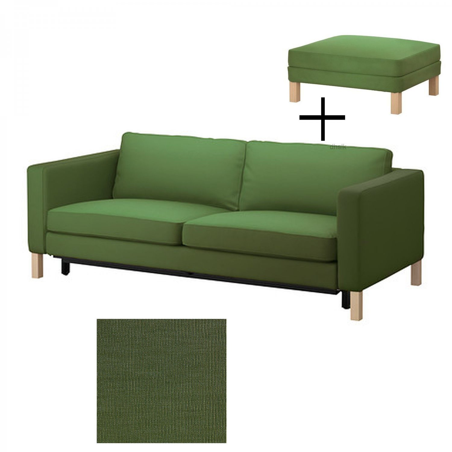 IKEA Karlstad Sofa Bed and Footstool SLIPCOVERS Sofabed Ottoman Covers SIVIK DARK GREEN