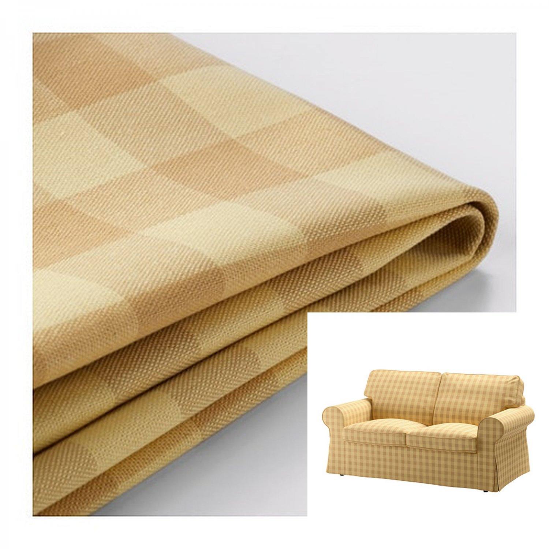 IKEA Ektorp 2 Seat Sofa COVER Loveseat Slipcover SKAFTARP YELLOW Buffalo Check Plaid