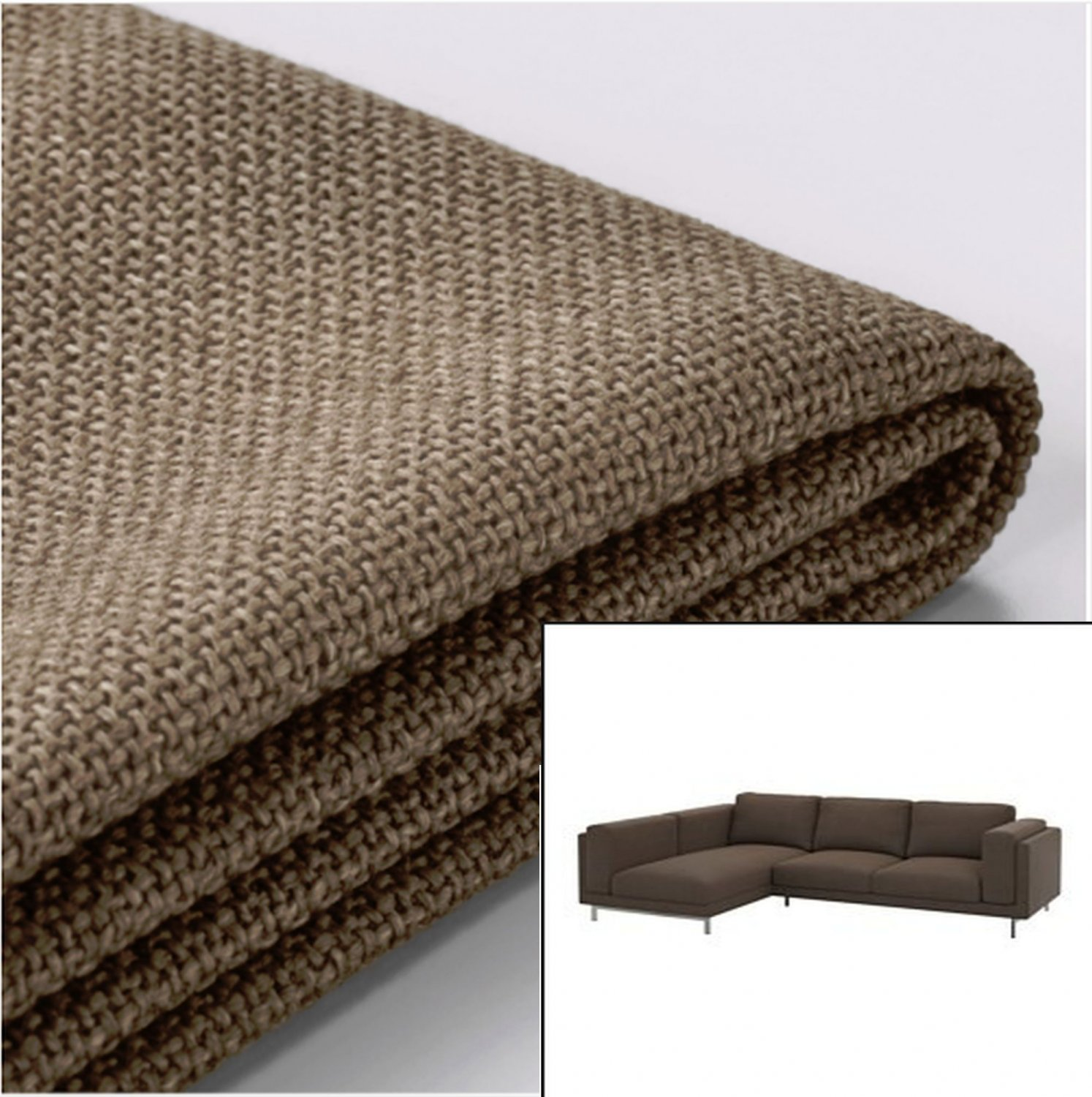 IKEA NOCKEBY SLIPCOVER Loveseat w Chaise Left COVER Teno Brown Tenö
