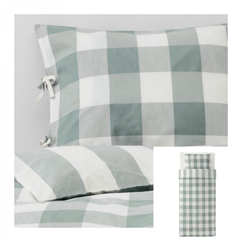 IKEA EMMIE RUTA Twin Duvet COVER and Pillowcase Set GREEN White CHECKED