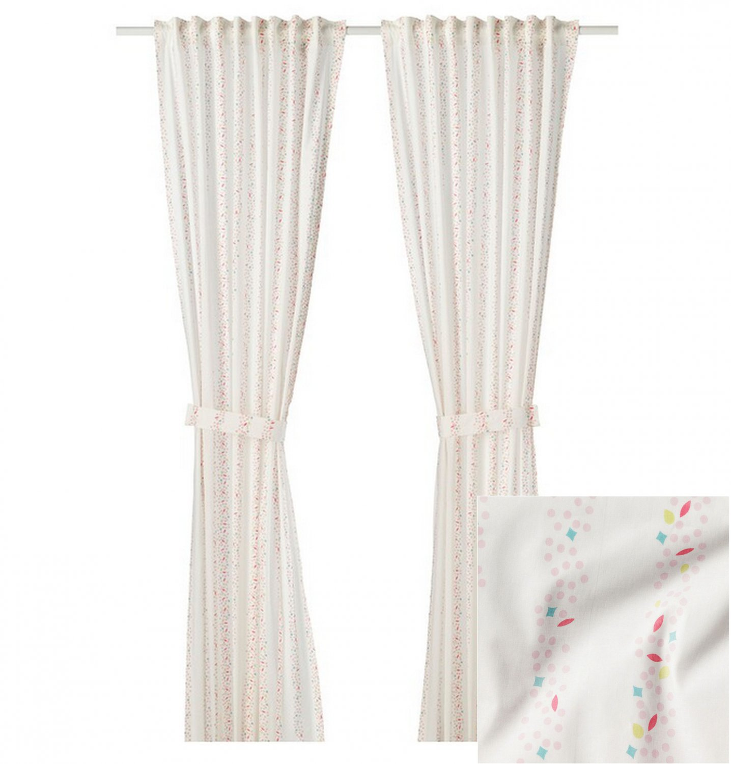 IKEA Lattjo CURTAINS Drapes w Tie Backs Dotted Stripe pink on White 2 Panels