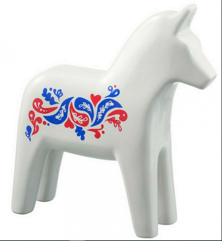 Ikea Vinterfest Dala Horse Art Decoration White Porcelain 75th Anniversary Limited Edition Figurine