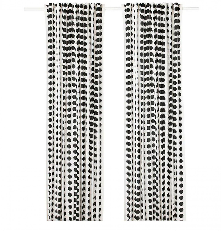 IKEA Klarastina Drapes CURTAINS  Black White 2 Panels Polka Dots Circles Spots Pattern
