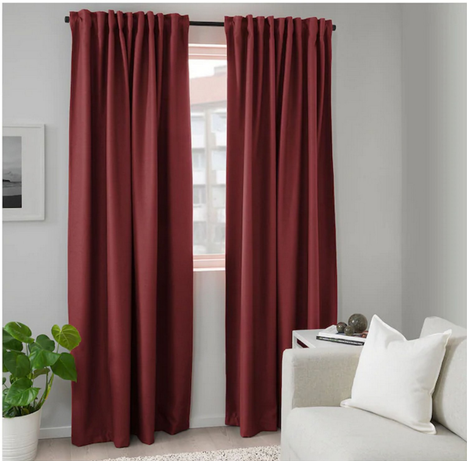 IKEA Annakajsa CURTAINS Drapes BROWN RED 2 Panels Heavy Textured Room Darkening brown-red rust