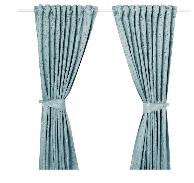 "IKEA Lisabritt CURTAINS Drapes 2 Panels BLUE 98"" Vine Leaf Floral Room Darkening Jacquard Woven"