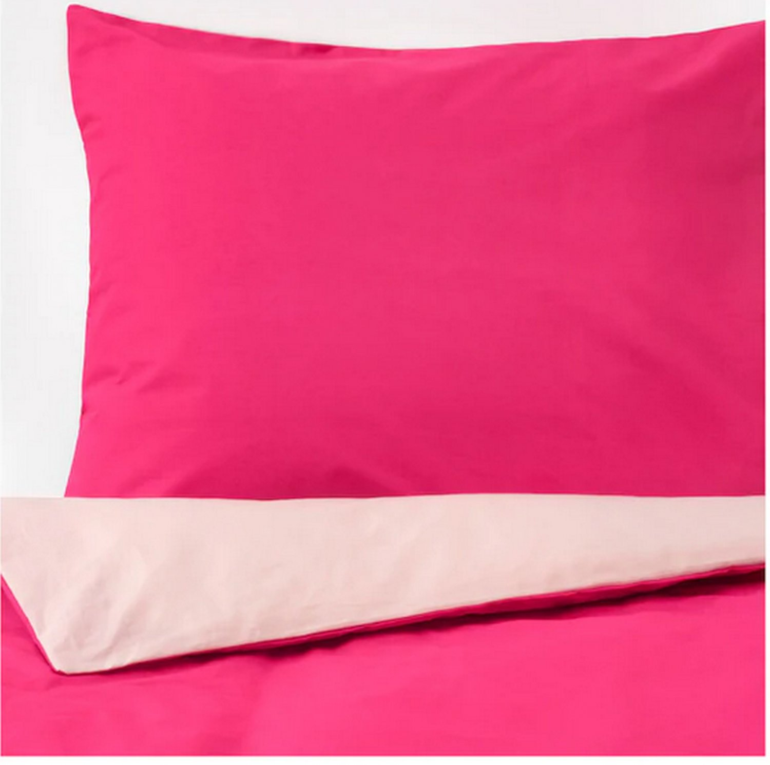 IKEA Dvala TWIN Single Duvet COVER Pillowcase Set PINK Solid Two Tone