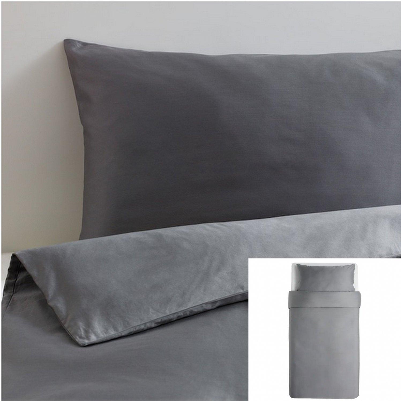 IKEA  Hjartstilla TWIN Single Duvet COVER  Set DARK GRAY Sateen Woven 600 Thread HJ�RTSTILLA