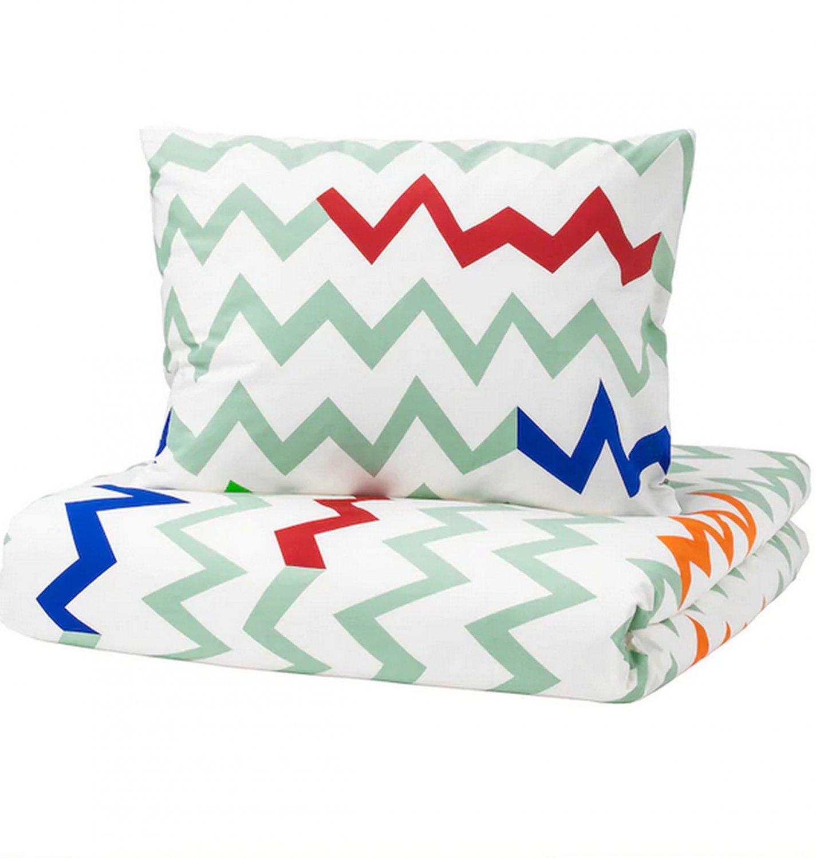 IKEA Stillsamt TWIN Duvet COVER Pillowcase Set LIGHT GREEN Zigzag Stripes