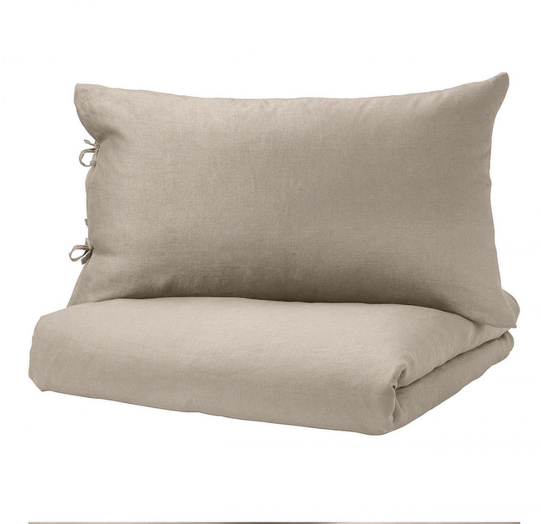 IKEA Puderviva KING Duvet COVER and Pillowcases Set LINEN Natural Beige