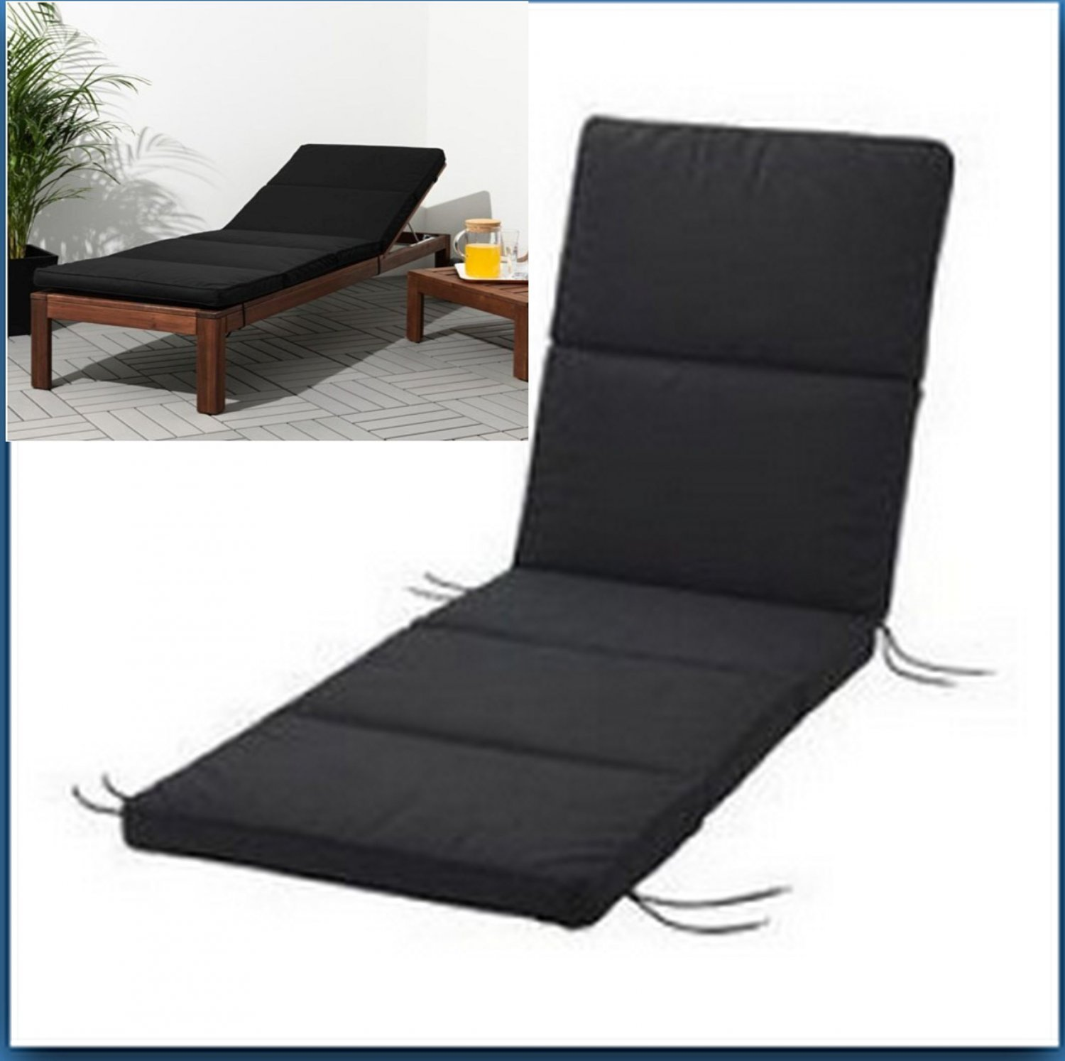 IKEA Kunsjo Indoor Outdoor Chaise CUSHION Black Patio Deck Lounge Pad KUNGS� Sale ends Feb. 17