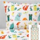 IKEA Lattjo TWIN Duvet COVER Set ANIMAL NATURE GARDEN Magical DREAMWORKS Fox Bear Owl Rabbit Unisex