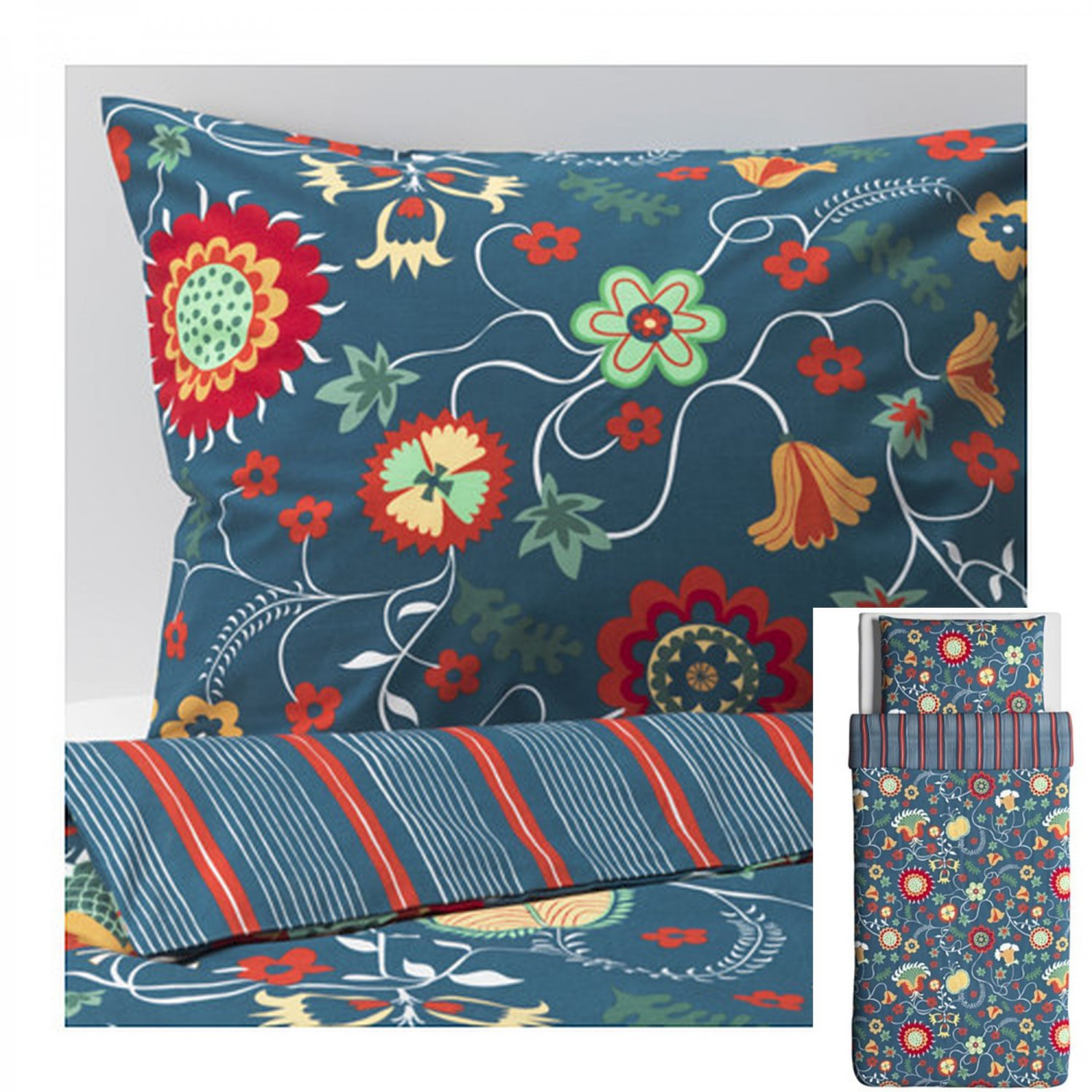 IKEA Rosenrips Twin Single Duvet Cover and Pillowcase Set BLUE Red Floral Vine Stripes