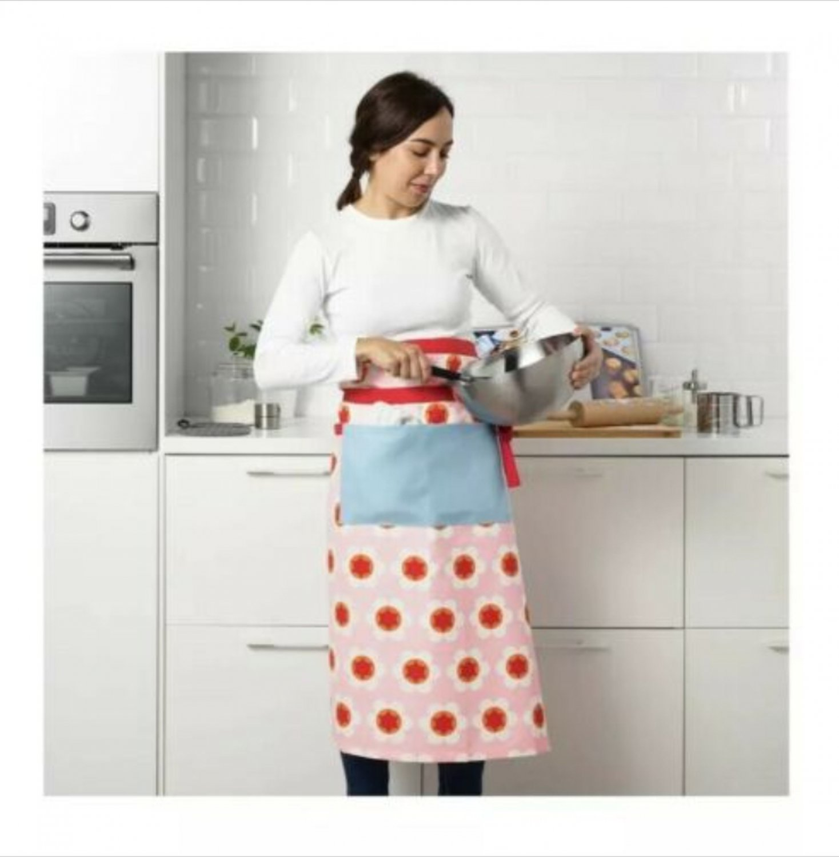 IKEA Kryddnejlika Chef's Baker's BIB APRON Retro Floral Dot Gardening Water Repellant