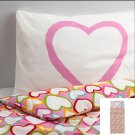 IKEA Vitaminer Hjarta Pink HEARTS TWIN Duvet COVER Pillowcase Set HJÄRTA Multicolor Modern Family