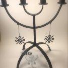 IKEA ISIG Christmas CANDELABRA 4 Arm Candle Holder BLACK Glansa Strala XMAS Snowflakes Metal