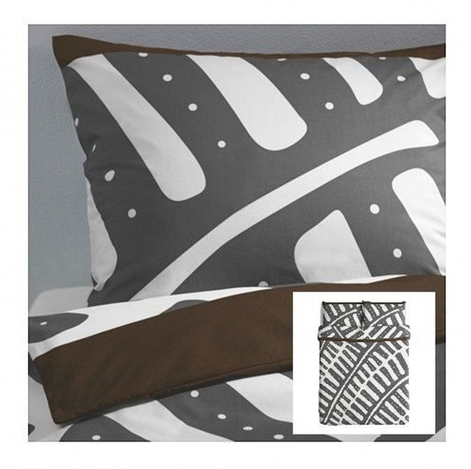 IKEA Stockholm QUEEN Gray White DUVET COVER Set Full Double ABSTRACT LEAF