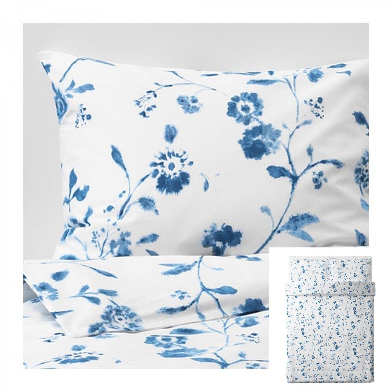 IKEA Blagran QUEEN Full Duvet COVER Pillowcase Set BLUE White Floral Flowers BL�GRAN