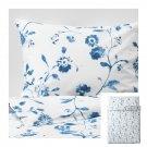 IKEA Blagran QUEEN Full Duvet COVER Pillowcase Set BLUE White Floral Flowers BLÅGRAN