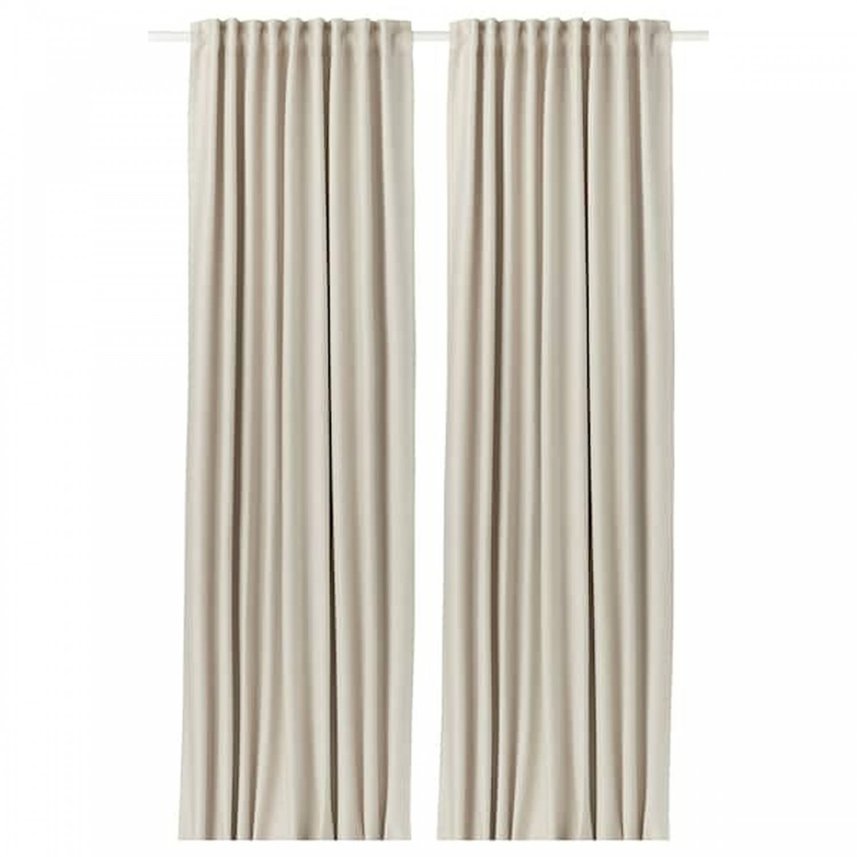 "IKEA Vilborg CURTAINS Drapes 2 Panels BEIGE 98"" Black Out Privacy Room Darkening"