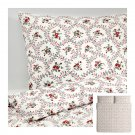 IKEA Hallrot KING Duvet COVER and  Pillowcases Set FLORAL Red White Colonial HÅLLROT