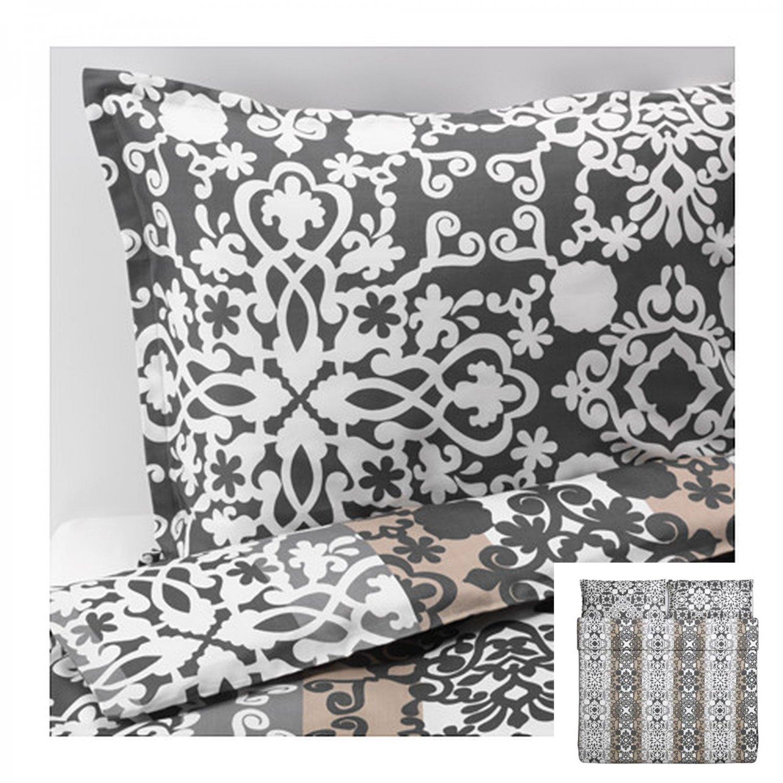 IKEA Prakttry KING Duvet COVER Pillowcase Set Gray Beige White Paisley Medallion  Stripes Ethnic