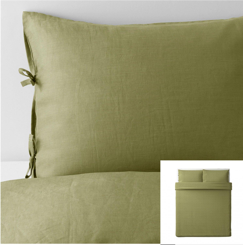 IKEA Puderviva QUEEN Full Duvet COVER and Pillowcases Set LINEN Light Olive Green