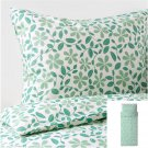 IKEA Juvelblomma TWIN Single Duvet COVER Pillowcase Set GREEN Bold Floral Flowers