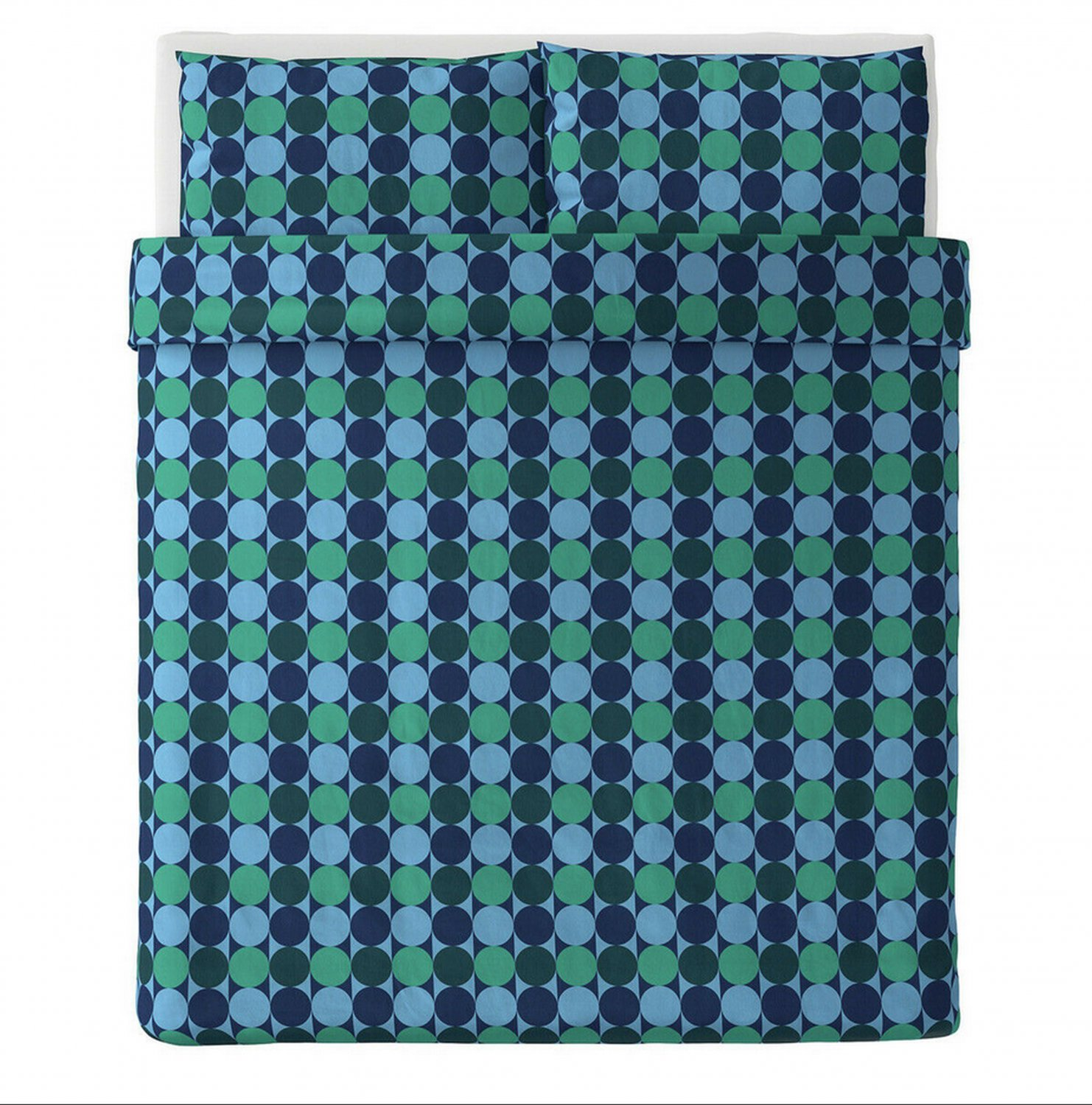 IKEA Krokuslilja Blue Green KING Duvet COVER Pillowcases Set Dots Circles Stripes Retro 60s Modern