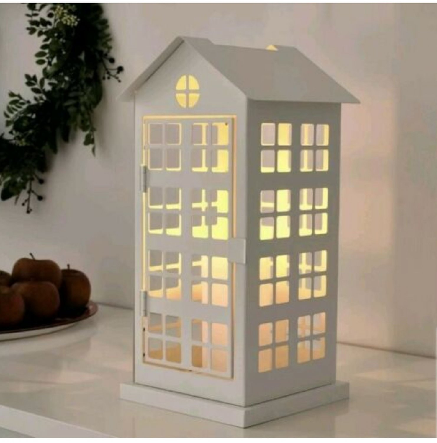 IKEA Vinterfest Block Candle Holder White House Cage Phone Booth 14� Xmas Steel