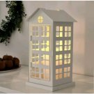 """IKEA Vinterfest Block Candle Holder White House Cage Phone Booth 14"""" Xmas Steel"""